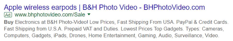 Earpod Apple nei risultati di ricerca di Google