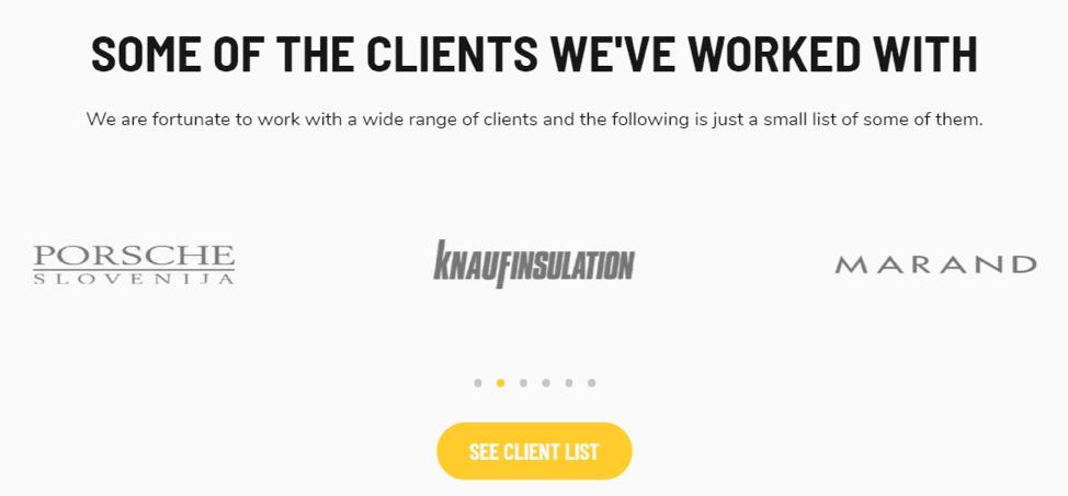 Pagina di destinazione dell'elenco dei client