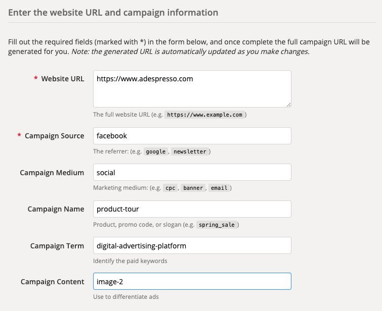 Google Campaign URL Builder per i parametri UTM