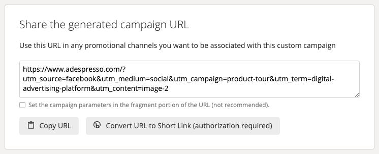 URL generato automaticamente con i parametri UTM
