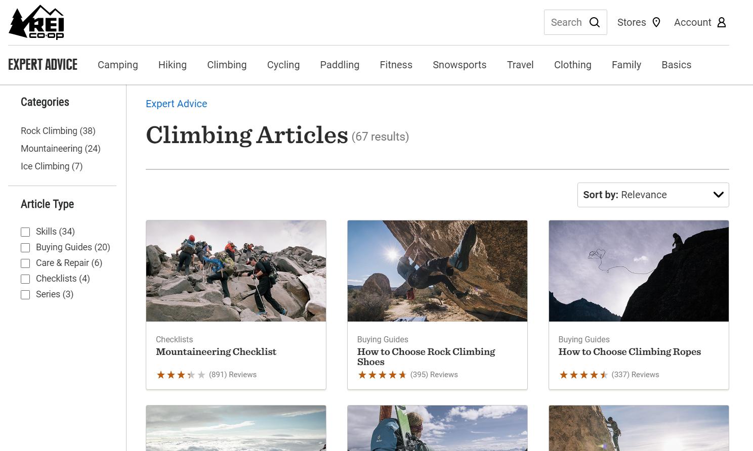 rei arrampicata articoli