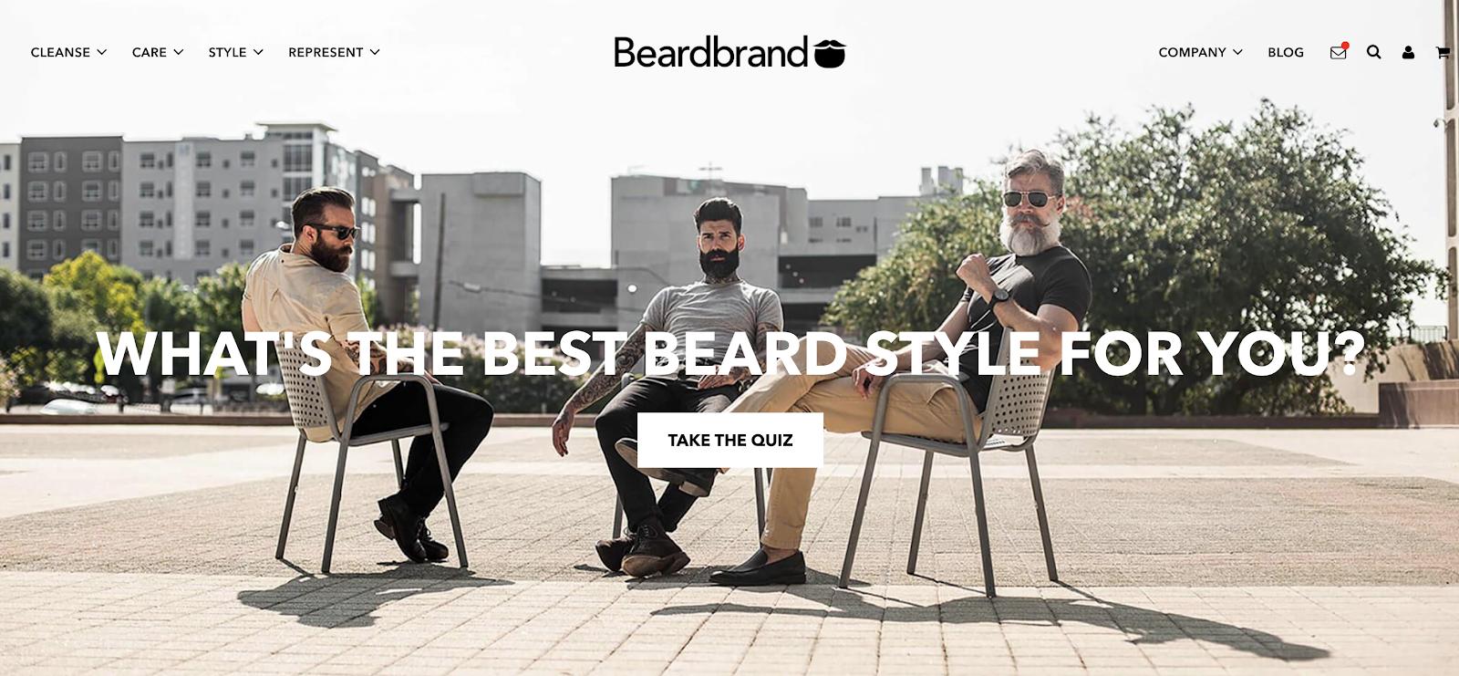 beardbrand homepage cta per i visitatori di fare il quiz