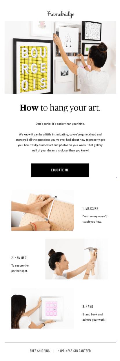 """email di post-acquisto per mostrare come appendere le immagini """"width ="""" 366"""
