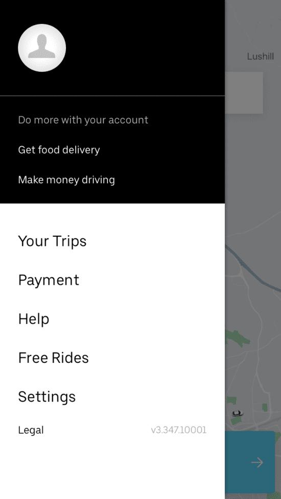 Menu Uber Eats