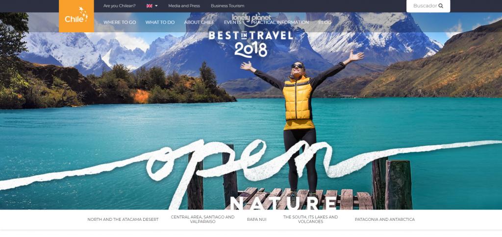 visione ispiratrice della natura sul sito di viaggi cileno