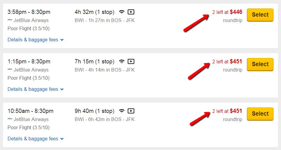 esempio di urgenza sul sito web di viaggi.