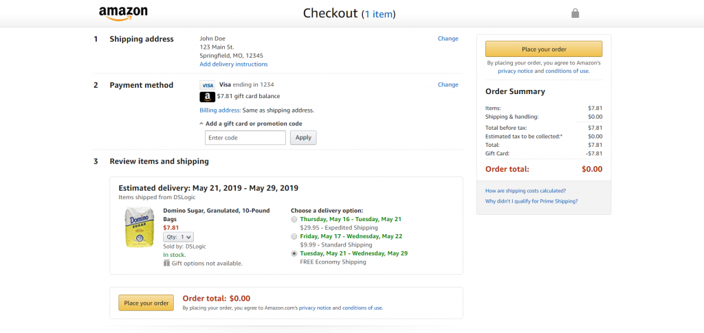esempio di pagina di pagamento semplificata su Amazon.