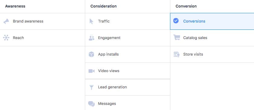 Obiettivi di conversione di Facebook
