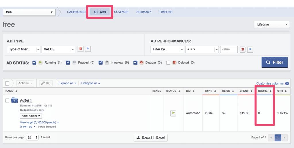 Posizione del punteggio di rilevanza di Facebook