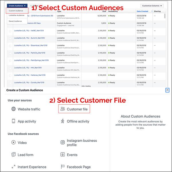 In Facebook Business Manager, basta selezionare creare un pubblico personalizzato, quindi selezionare File cliente come origine.