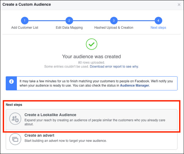 Mostrando come creare un pubblico simile su Facebook