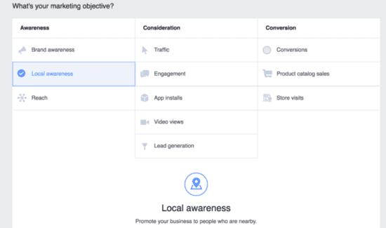 Impostazione dell'obiettivo di marketing per gli annunci di Messenger