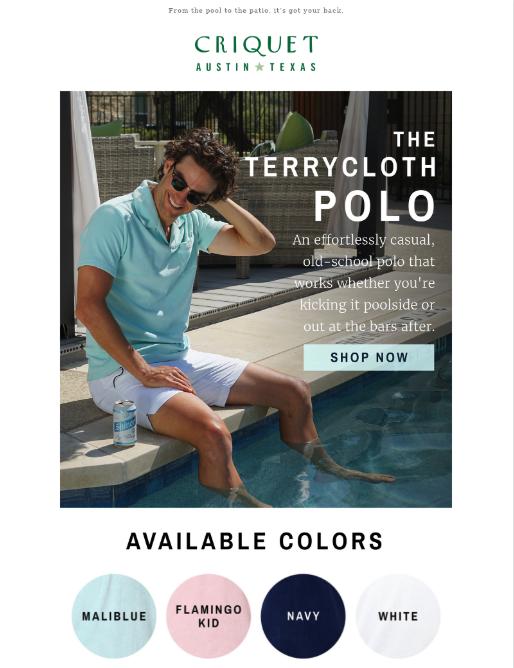 esempio di email camicie criquet