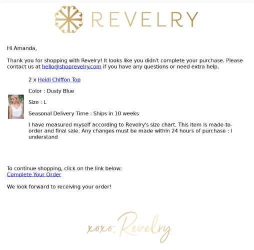esempio di email di revelry