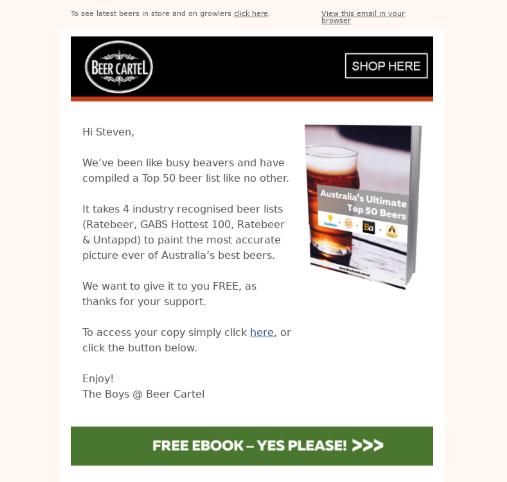 esempi di e-mail del cartello della birra
