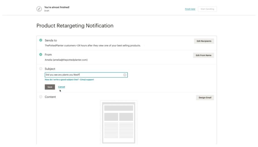 esempio di email di retargeting del prodotto