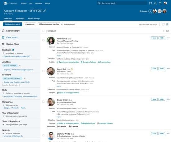 Aggiornamenti degli strumenti per il reclutatore di LinkedIn