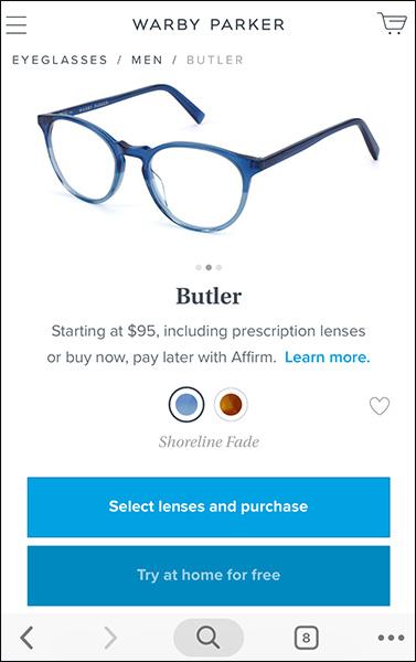 esempio di sito di e-commerce mobile