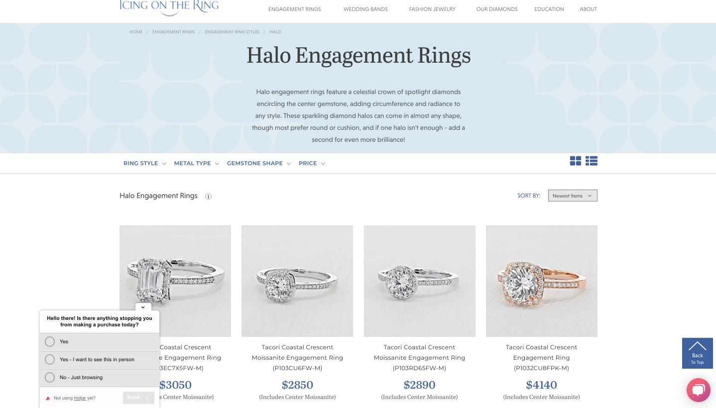 glassa di gioielli online sull'aureola dell'anello