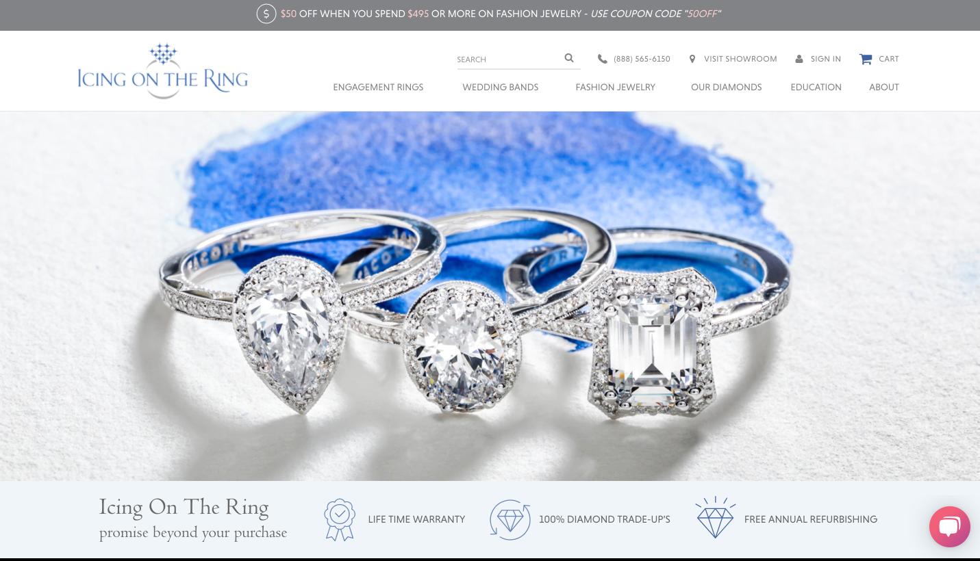 glassa di gioielli online sul ring di casa