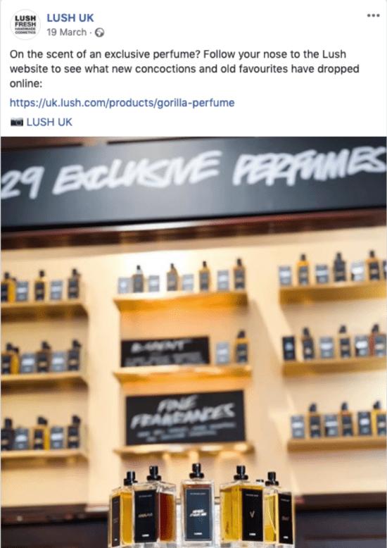 Lush UK Post di Facebook