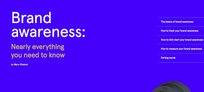 Pagina del pilastro sulla brand awareness di Typeform