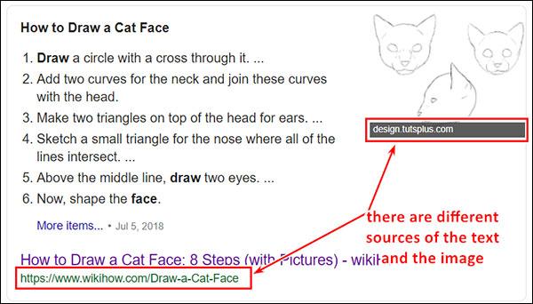 Mostra come un'immagine di frammento in primo piano può provenire da un'altra fonte