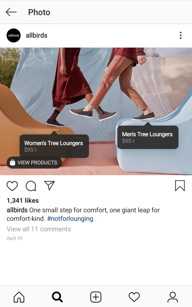 Immagine Instagram Allbirds con tag shoppable