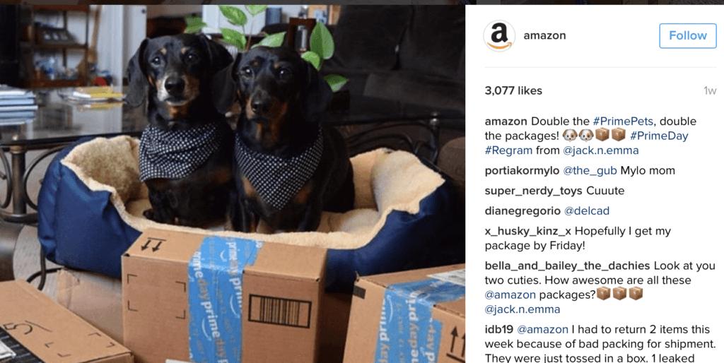 Immagine Instagram di Amazon