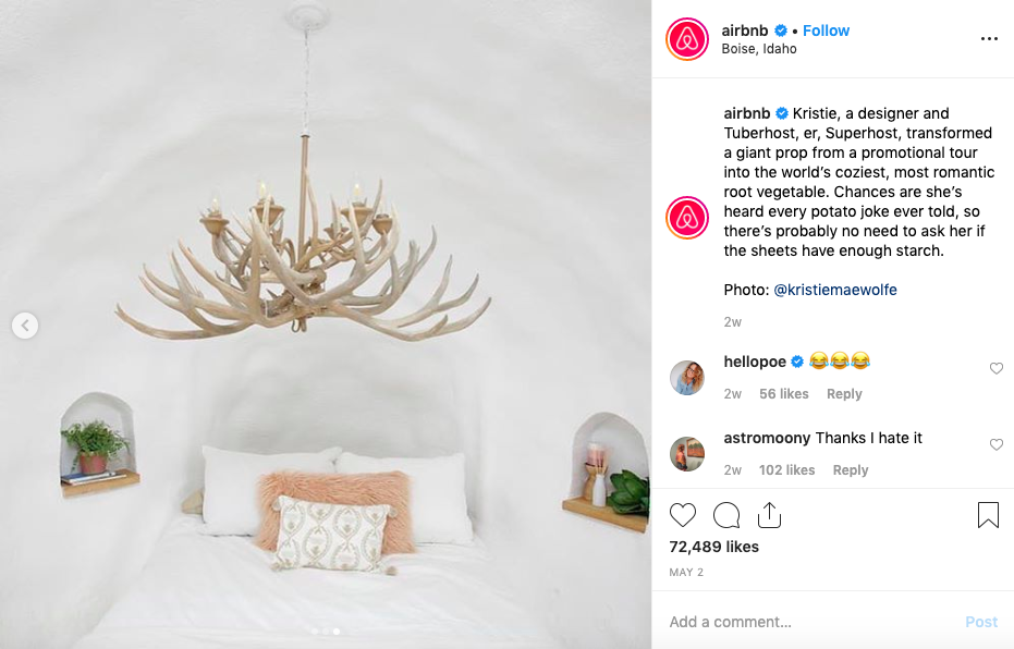 Immagine Instagram Airbnb
