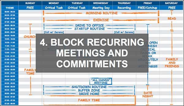 Blocca riunioni e impegni ricorrenti