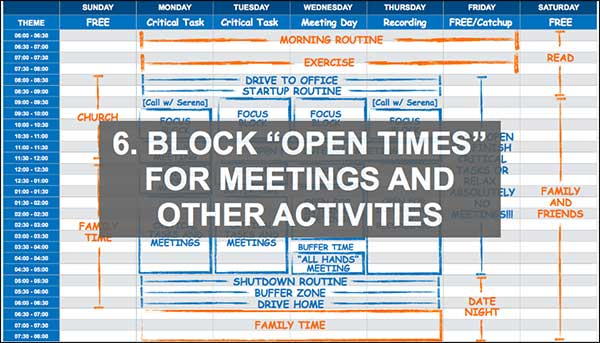 Blocca gli orari di apertura per riunioni e altre attività