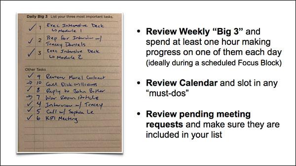 Controlla i tuoi articoli settimanali come Big 3 e le riunioni