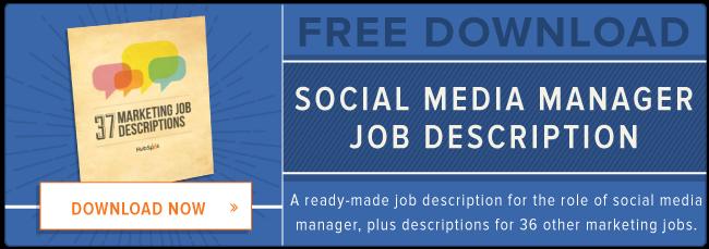 descrizione del lavoro di social media manager gratuita