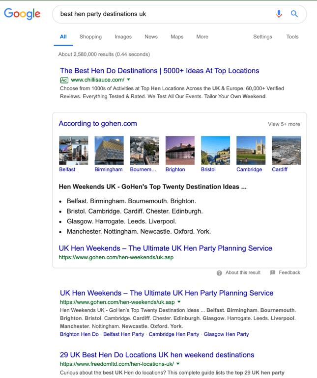 Esempio di contenuto di Google