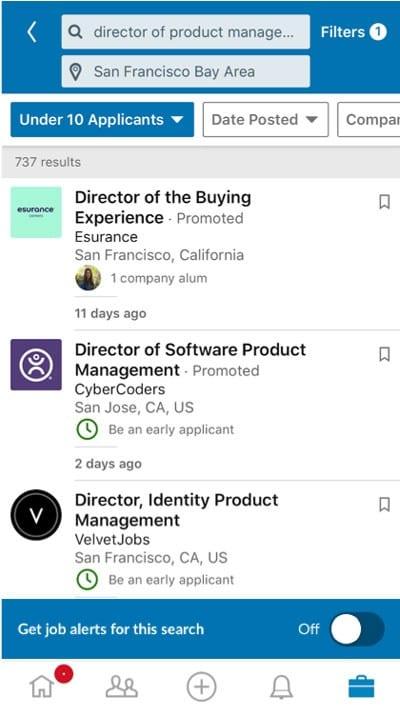Notifiche di lavoro istantaneo di LinkedIn