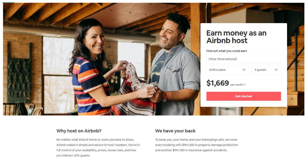 pagina di destinazione airbnb
