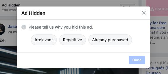 Nascondere il messaggio pubblicitario
