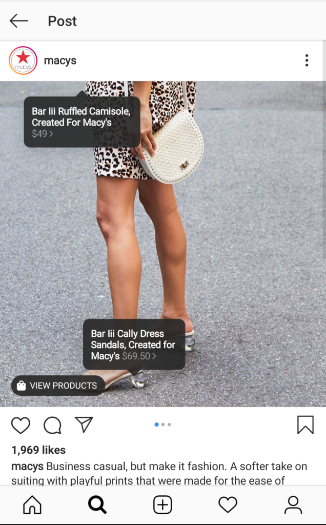 Immagine di Instagram di Macy con tag shoppable