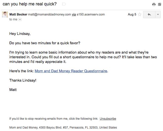 """Esempio di campagna di marketing via email di Matt Becker su come conoscere i suoi abbonati """"width ="""" 662 """"height ="""" 533"""