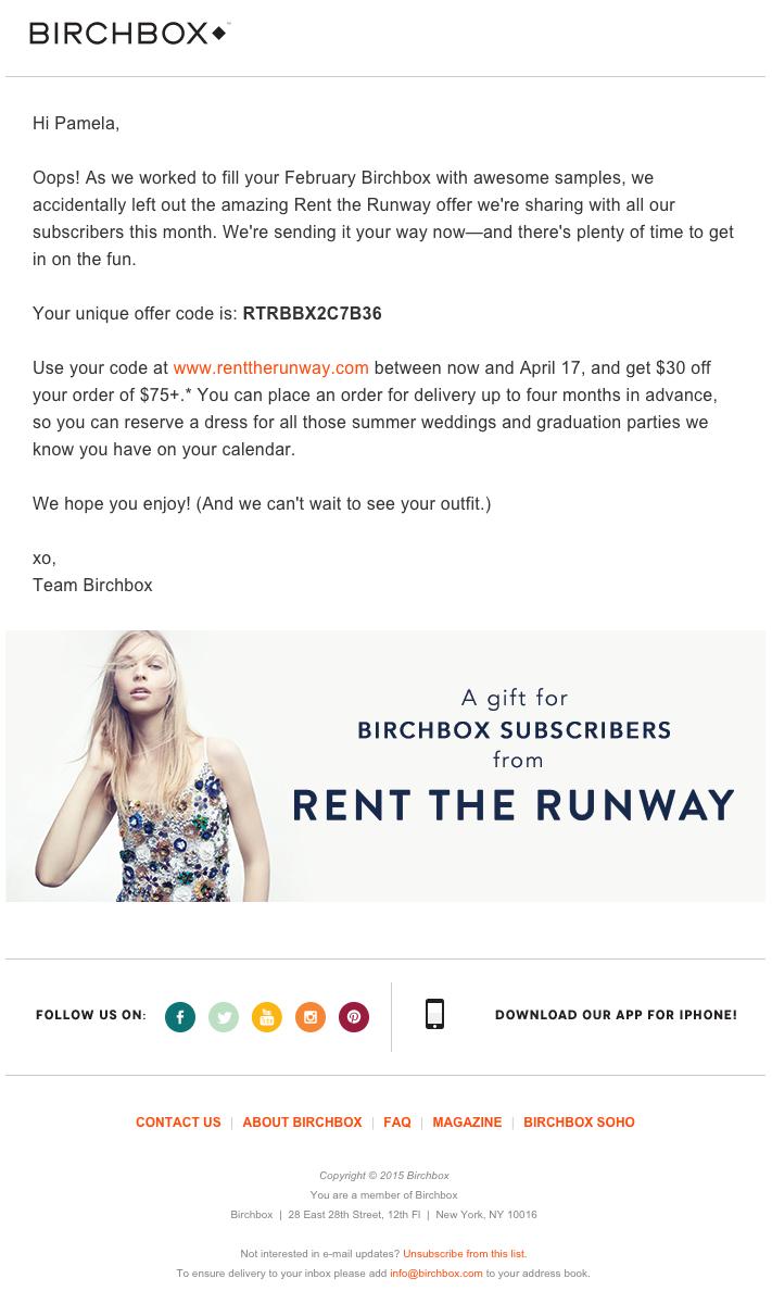 """Esempio di campagna di marketing via email di Birchbox con promozione di promozione """"width ="""" 669 """"data-constrained ="""" true"""