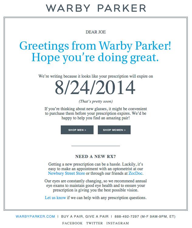 """Esempio di campagna di marketing via email di Warby Parker che notifica all'utente il rinnovo del prodotto """"width ="""" 669 """"data-constrained ="""" true"""