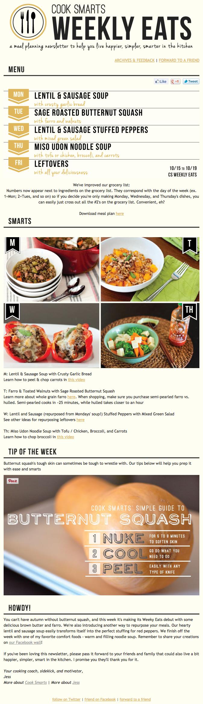 "Esempio di campagna di marketing via email di Cook Smarts su Weekly Eats ""width ="" 669 ""data-constrained ="" true"