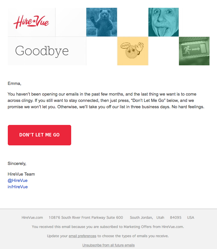 Esempio di campagna di marketing via email di HireVue incentrato sulla fidelizzazione dei clienti