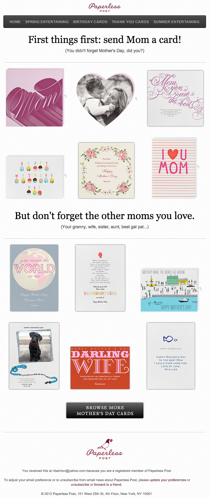 "Esempio di campagna di email marketing di Paperless Post su Mother's Day ""width ="" 669 ""data-constrained ="" true"