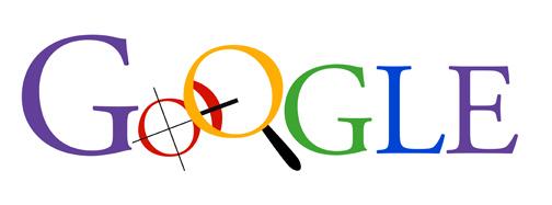 """Inizializzazione del logo Google con iniziale maiuscola con colori a tinta unita in cui il primo O è una bussola e il secondo O è una lente di ingrandimento. """"Width ="""" 504 """"style ="""" width: 504px; blocco di visualizzazione; margine: 0px auto;"""