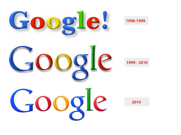 """Logo Google 1998 originale rispetto alle iterazioni di Ruth Kedar lanciate nel 1999 fino al 2010 """"width ="""" 600 """"style ="""" width: 600px; margine: 0px auto;"""