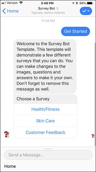 Esempio di una campagna di Facebook Messenger