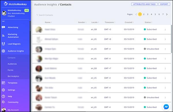 Contatti e approfondimenti del pubblico da una campagna di Facebook Messenger
