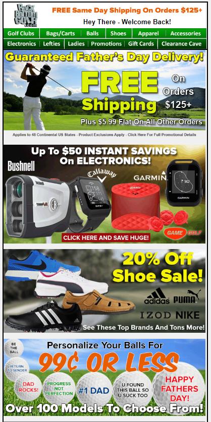 esempio di campagna e-mail golf bottom rock